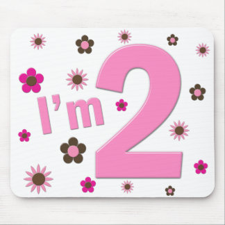 """I'm 2"" Pink & Brown Flowers Mouse Mats"