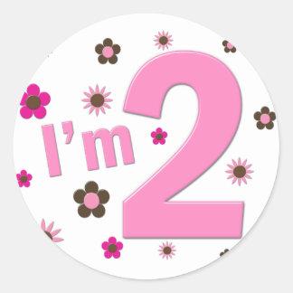 """""""I'm 2"""" Pink & Brown Flowers Round Sticker"""