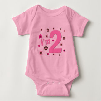 """I'm 2"" Pink & Brown Flowers T-shirt"