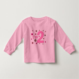 """""""I'm 2"""" Pink & Brown Flowers T-shirts"""