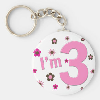 """I'm 3"" Pink & Brown Flowers Key Chains"