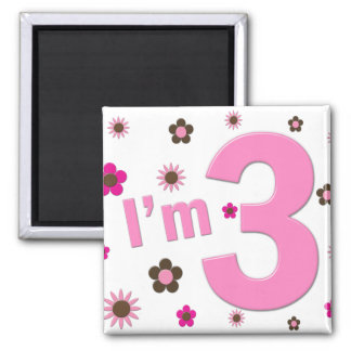 """I'm 3"" Pink & Brown Flowers Magnets"