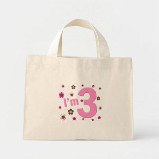 """I'm 3"" Pink & Brown Flowers Mini Tote Bag"