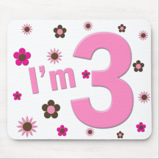 """I'm 3"" Pink & Brown Flowers Mouse Pads"