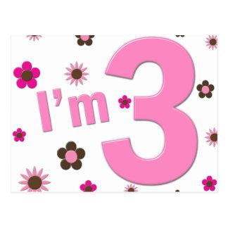 """I'm 3"" Pink & Brown Flowers Postcard"