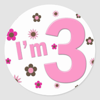 """""""I'm 3"""" Pink & Brown Flowers Stickers"""