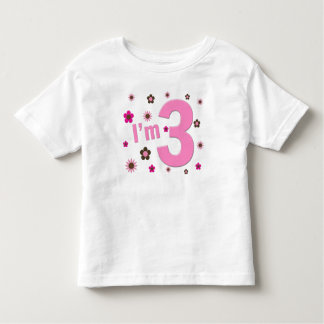 """""""I'm 3"""" Pink & Brown Flowers T-shirts"""