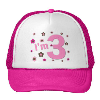"""I'm 3"" Pink & Brown Flowers Trucker Hats"