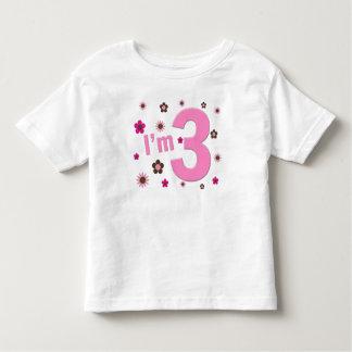 """I'm 3"" Pink & Brown Flowers Tshirts"