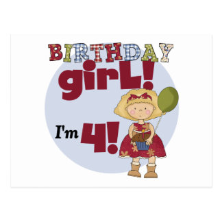 I'm 4 Birthday Girl T-shirts and Gifts Postcard