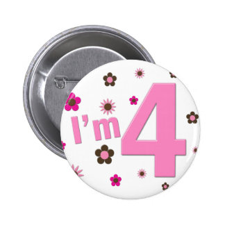 I'm 4 Pink & Brown Flowers 6 Cm Round Badge