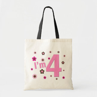 I'm 4 Pink & Brown Flowers Budget Tote Bag