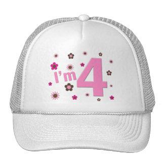 I'm 4 Pink & Brown Flowers Cap