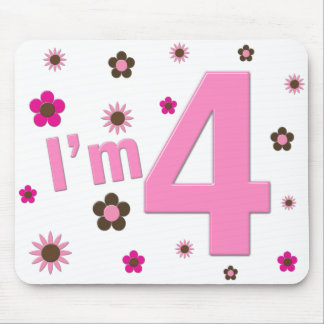 I'm 4 Pink & Brown Flowers Mouse Pad