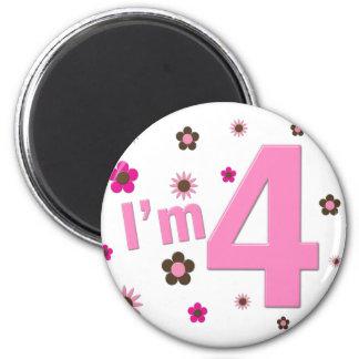 I'm 4 Pink & Brown Flowers Refrigerator Magnets