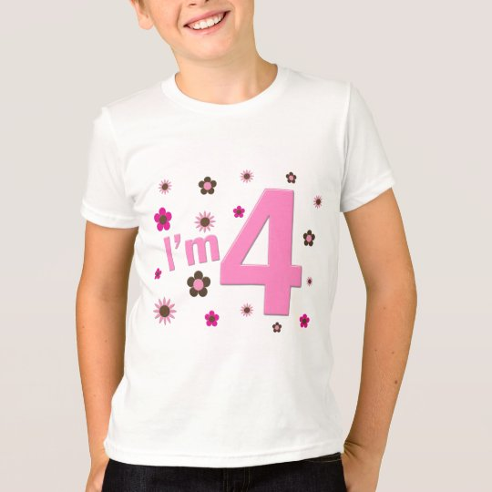 I'm 4 Pink & Brown Flowers T-Shirt