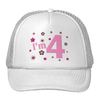 I'm 4 Pink & Brown Flowers Trucker Hats