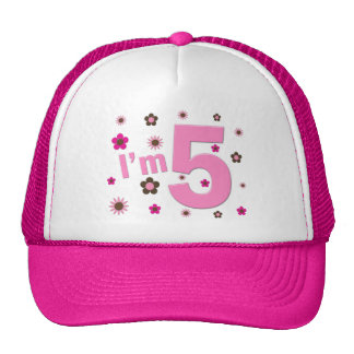 I'm 5 Pink And Brown Flowers Hats