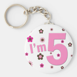 I'm 5 Pink And Brown Flowers Basic Round Button Key Ring