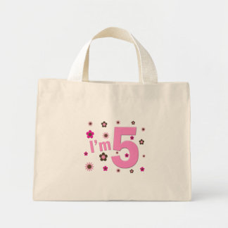 I'm 5 Pink And Brown Flowers Mini Tote Bag