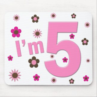 I'm 5 Pink And Brown Flowers Mouse Pad