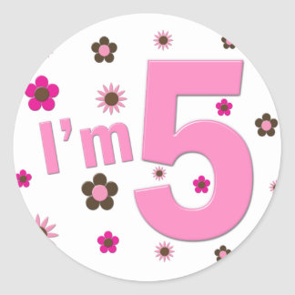 I'm 5 Pink And Brown Flowers Round Sticker