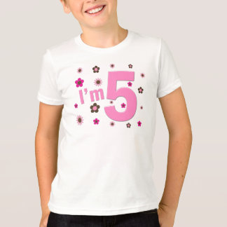 I'm 5 Pink And Brown Flowers Shirts