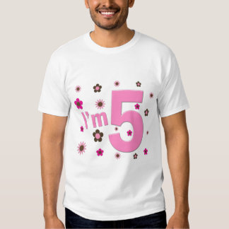 I'm 5 Pink And Brown Flowers Tees