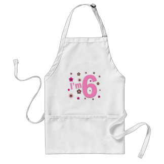 I'm 6 Pink And Brown Flowers Apron