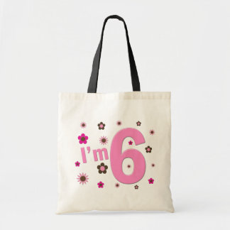 I'm 6 Pink And Brown Flowers Budget Tote Bag
