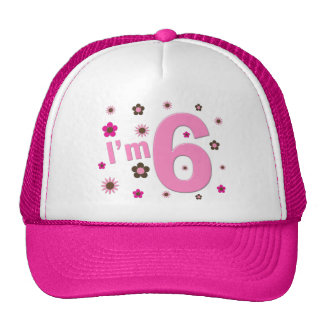I'm 6 Pink And Brown Flowers Cap