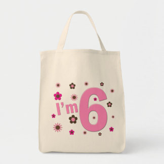I'm 6 Pink And Brown Flowers Grocery Tote Bag