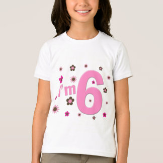 I'm 6 Pink And Brown Flowers T-shirts