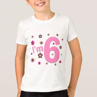 I'm 6 Pink And Brown Flowers Tee Shirts