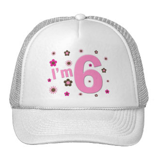 I'm 6 Pink And Brown Flowers Trucker Hats