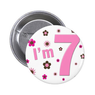 I'm 7 Pink And Brown Flowers 6 Cm Round Badge