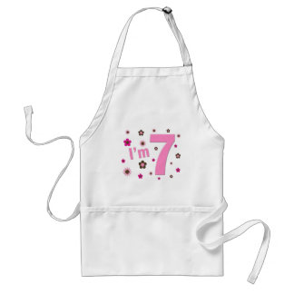 I'm 7 Pink And Brown Flowers Aprons