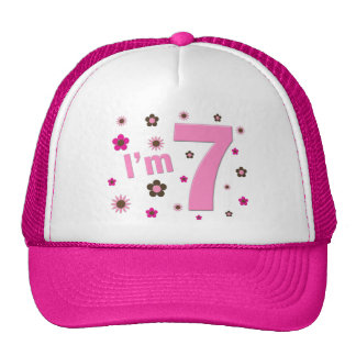 I'm 7 Pink And Brown Flowers Hats