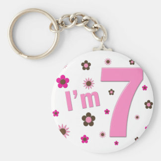 I'm 7 Pink And Brown Flowers Keychains
