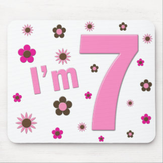 I'm 7 Pink And Brown Flowers Mouse Pad