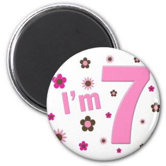 I'm 7 Pink And Brown Flowers Refrigerator Magnets