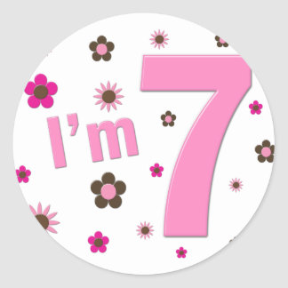 I'm 7 Pink And Brown Flowers Round Sticker