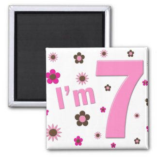 I'm 7 Pink And Brown Flowers Square Magnet