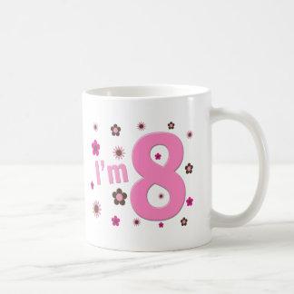 I'm 8 Pink And Brown Flowers Basic White Mug