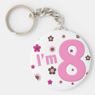I'm 8 Pink And Brown Flowers Key Chain