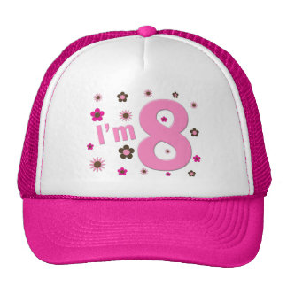 I'm 8 Pink And Brown Flowers Mesh Hats