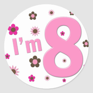 I'm 8 Pink And Brown Flowers Sticker