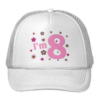 I'm 8 Pink And Brown Flowers Trucker Hats