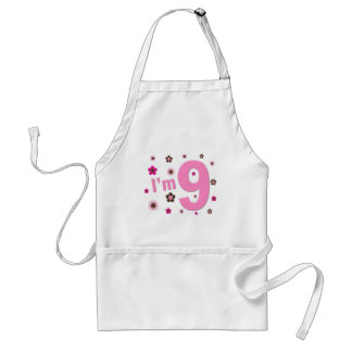 I'm 9 Pink And Brown Flowers Aprons