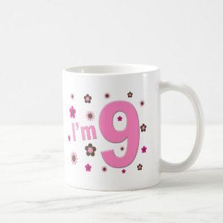 I'm 9 Pink And Brown Flowers Basic White Mug